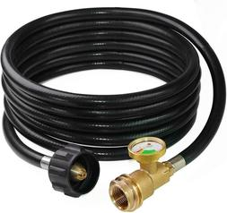 DOZYANT 12 Feet Propane Tank Hose Extension with Gauge  for