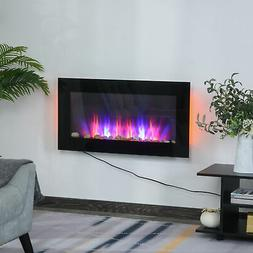 1500W Electric Fireplace Heater Wall Mounted With Remote Con
