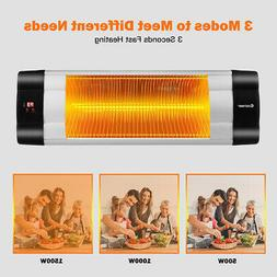 1500W Infrared Patio Heater w/ Remote Control & 24H Timer In