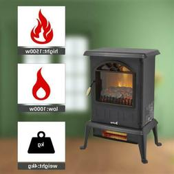 1500W Space Heater Free Standing Electric Fireplace Fire Fla