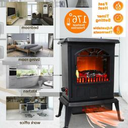 1500W Space Heater Free Standing Infrared Electric Fireplace