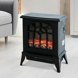 "16"" 1500W Freestanding Indoor Electric Fireplace Heater Stov"