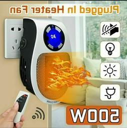 2021 500W Ceramic Plug In Heater Fast Room Wall Outlet Indoo