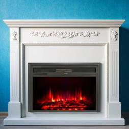 """28"""" 1400W Electric Fireplace Insert Stove Heater W/Remote Co"""