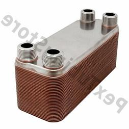 30-Plate 3x8 Water to Water Brazed Plate Heat Exchanger, 3/4