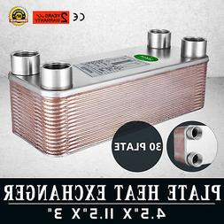 """30 Plate Water to Water Brazed Plate Heat Exchanger 1"""" FPT P"""