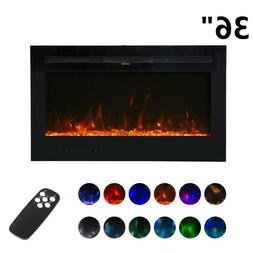"""36"""" Wall Mount Electric Fireplace Heater Multi-Color LED F"""