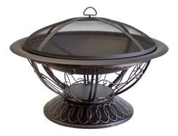 Hiland AZ Patio Heaters Fire Pit with Scroll Design, Wood Bu