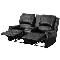 Black Leather Pillowtop 2-Seat Home Theater Recliner with St