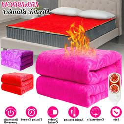 Electric Heated Flannel Blanket Winter Cover Heater Temperat