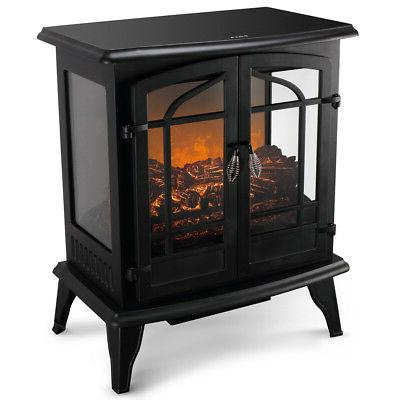 1400w adjustable electric fireplace heater fire flame