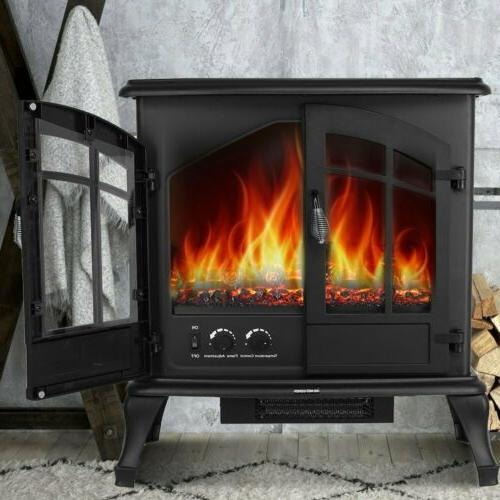 1500W Freestanding Stove Burning Flame