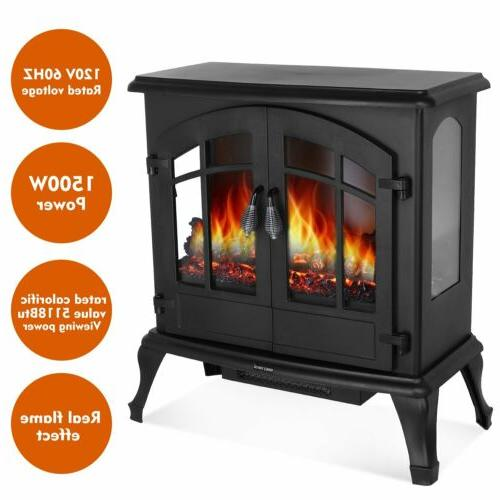1500W Electric Freestanding Stove Burning Flame