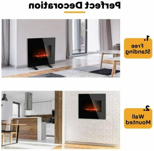 """26""""Electric Fireplace Recessed Wall Mounted Heater Multi Flame"""