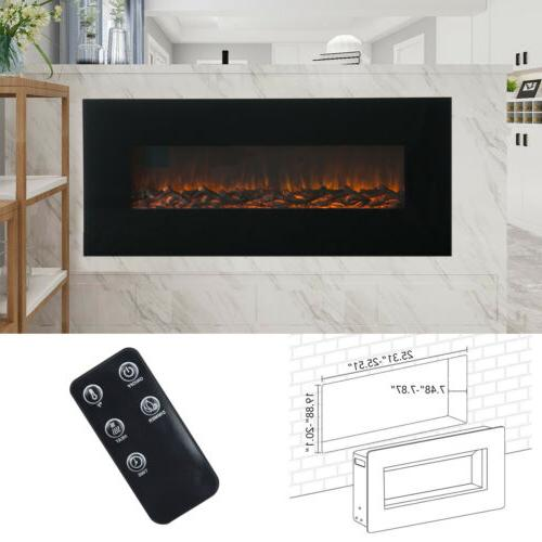 "50"" Wall Mounted Electric Fireplace Heater Flame Log w/ Remo"