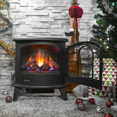 """20"""" Electric 1400W Fireplace Heater Fire Flame Stove Wood Fr"""