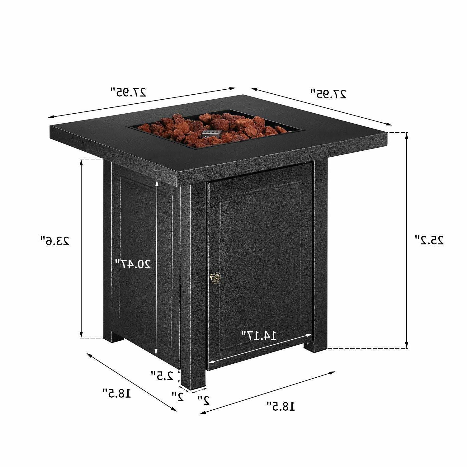 Outdoor Fire Pit Backyard Table Gas 28""
