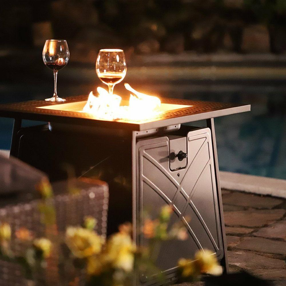 "28""Outdoor Propane Fire Pit Patio Heater Gas Table Square Fi"