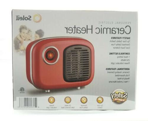 Soleil Personal Ceramic Heater Retro Style Red Cool