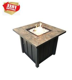 Outdoor Patio Heater, Square Tile Top Fire Pit, Fire Glass I